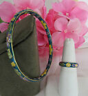 Vintage GLASS CLOISONNE SEA BLUE BRACELET AND RING SET