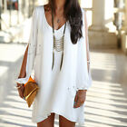 Sexy Women Summer Casual Sleeveless Party Cocktail White Mini Dress New Fashion