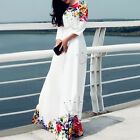 Hot Women Vintage BOHO Maxi Long Sleeve Evening Party Dresses Floral White Dress