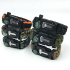5 in1 Paracord Survival Bracelet Compass Flint Fire Starter Whistle Camping Gear