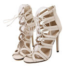 Fashion Womens Gladiator Stiletto High Heel Sandals Ankle Lace Up Zip Shoes US8