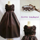 Adorable Truffle brown bridal flower girl party dress FREE HEADPIECE all sizes