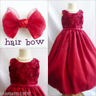 Adorable Apple red satin bridal flower girl party dress FREE HAIR BOW all sizes
