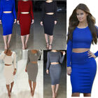 Fashion 6 Color Two-piece Knit O-Neck Cotton Long Sleeve Dress Casual Shirt Suit