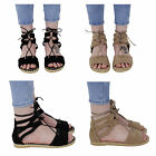 WOMENS LADIES FLAT ANKLE STRAP LACE UP WOVEN NEW ESPADRILLES SHOES SANDALS SIZE