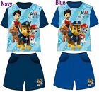 New boys licensed Paw Patrol summer pyjama set cotton blue and navy 2-6 years