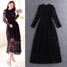 Elegant Women's Floral Hollow Out Lace Splicing Maxi Long Cocktail Party Dress