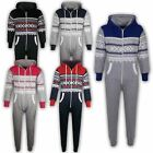 KIDS GIRLS BOYS AZTEC SNOWFLAKE HOODED Onesie ALL IN ONE 7 8 9 10 11 12 13 Yr