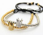 New Men's 18k Gold Silver Plated Crown 4mm CZ Beads Macrame Braided Bracelet