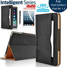 Leather Wallet Smart Stand Case + Screen Guards for iPad 2 3 4 5 6/Air/Mini/Pro