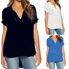 New Sexy Women's Ladies V-Neck Short Sleeve Chiffon Loose T-shirt Blouse Tops