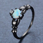 Size 5-10 Men/Women's White Opal Jewelry 10Kt Black Gold Filled Engagement Ring