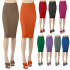 Womens Basic Solid Casual Stretch Polyester Slim Fitted Bodycon Midi Skirt S-4XL