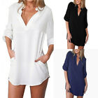M-3XL Womens V Neck Chiffon Top Long Sleeve Button Tee Shirt Loose Blouse OB