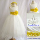 Lovely Ivory/yellow sunbeam pageant wedding flower girl party dress all sizes