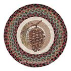 "Pinecone 15.5"" Round Chair Pad with 2 Tie Ribbons Hand Printed Braided Jute"