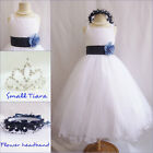 Gorgeous white/navy blue tulle satin wedding flower girl party dress all sizes