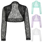 Girls New Bridesmaid LACE Long Sleeve Cropped  Shrug Womens Bolero Cardigan Tops