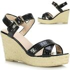 New Ladies Womens Platform Sole Strappy Espadrille Wedge Heel Sandals Mule Shoes