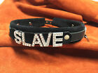 "Suede leatherlocking choker 1"" collar slut slave bitch - Custom Any Word!"