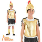 Child Roman Warrior Costume Boys Gladiator Medieval Fancy Dress Outfit New