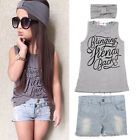 3pcs Baby Girls Outfits Headband+T-shirt Tops+Jeans Pants Clothes Kids Sets 2-6Y