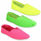 F8853 LADIES CASUAL ROUND TOE SLIP ON FLAT CANVAS SHOES PUMPS SPOT ON