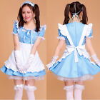 Women's Cosplay Blue Maid Outfits Costume sexy Party Halloween Dresses Set apron