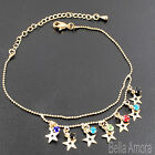 Gold Tone Multi Coloured Crystal Gems Star Anklet Ankle Chain Bracelet New -122