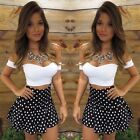 2 Pieces Set Sexy Strapless Short Sleeve Off Shoulder Crop Tops+Polka Dot Skirt