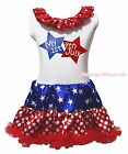 MY 1ST 4th July Twin Star White One Piece Girl Star Minnie Dot Dress Skirt NB-8Y