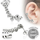 Gem Eyed Gothic Skulls Helix Cartilage Upper Ear Cuff Piercing Stud Earring 20ga