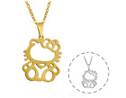 Hello Kitty Cat Kitten Silver/Gold Stainless Steel Pendant Chain Necklace image