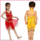 Kids Girls Belly Dance Top+Skirt Set Outfit Bollywood Coin Dancing Costume AC07