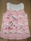 Mantaray Faithful and True White Red Stripe Bird Floral  Vest Tank Top New