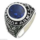 New Men's 0.925 Solid Sterling Silver US Army Military Solid Back Ring