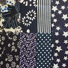 7 Large Dark Blue Themed 100% COTTON Squares 15cm Approx #RE227