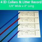 4-12 Different Colored Whelping Puppy Dog ID Collar Litter Bands + Litter Record