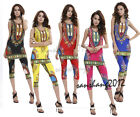 Women's Summer African Design Printed Print Vests Sets Dashiki Slim Vests+Pants