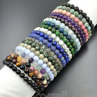 "8mm Fashion Natural Gemstone Round Beads Stretchy Bracelet 7.5"" Mens Women"