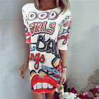 S-XL Women Short Sleeve Chiffon Loose Mini Dress Long Tops Blouse T-Shirt Dress