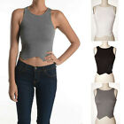IUILE Simple Basic Solid Cotton Tank Crop Top Uneven Split Front Sexy Summer NEW