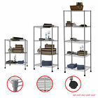 3/4/5 Tier Grey Shelving Unit Steel Wire Metal Rack Adjustable Shelf Storage