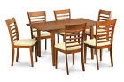 MILA7-SBR 7 Piece kitchen dining set-Table and 6 Dining Chairs in Brown