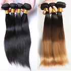 3 Bundle Brazilian Remy Straight Human Extensions Hair Weaving Weft 150g