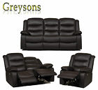 NEW HARLOW ELECTRIC POWER RECLINER SOFA SET LUXURY REAL GENUINE LEATHER - BROWN