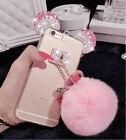Bling Crystal Ears Rabbit Fur Ball TPU Soft Gel Clear Case Cover For Cell Phones