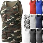 Mens TANK TOP Heavy A-Shirt Plain Cotton Basic Muscle Gym Workout Sleeveless Tee image