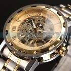 Mens Top Classic Transparent Steampunk Skeleton Mechanical Stainless Steel Watch
