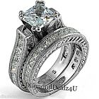 Princess Diamond cut Engagement Ring Bridal Band Set Sterling Silver White Gold